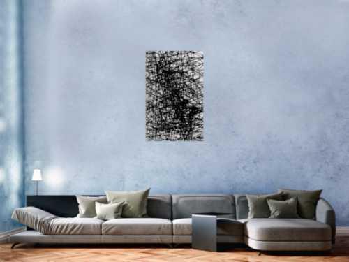Abstraktes Acrylbild schwarz weiß minmalistisch schwarze Streifen sehr modern