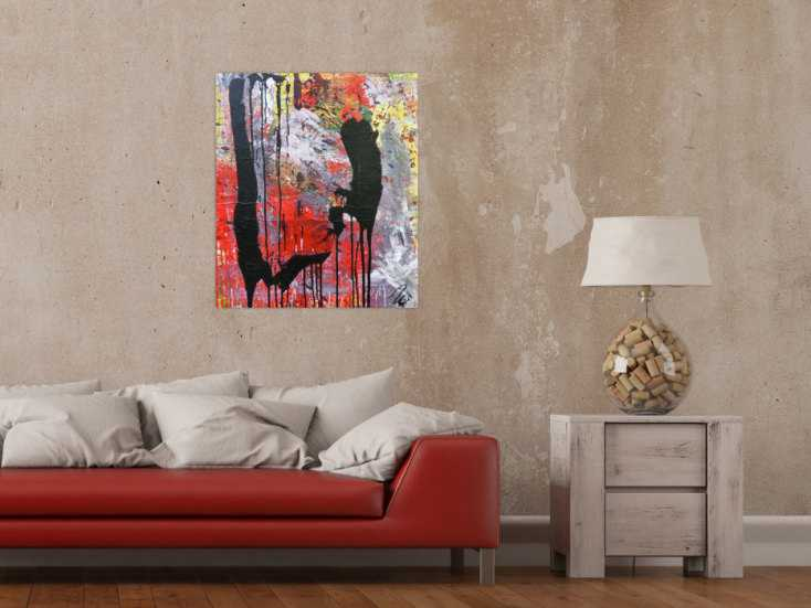 abstraktes acrylbild sehr modernes gem lde rot grau schwarz auf leinwand 80x60cm. Black Bedroom Furniture Sets. Home Design Ideas