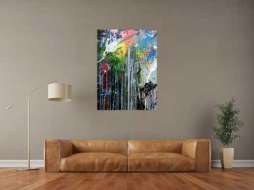 Abstraktes Acrylbild sehr modern bunt mit grober Struktur