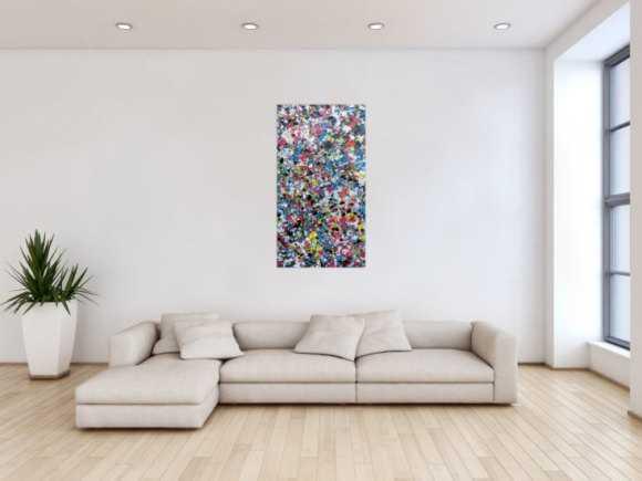 Abstraktes Gemälde aus Acryl sehr bunt modern viele Flecken