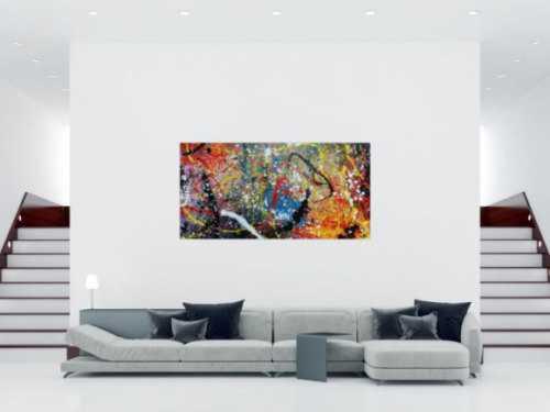 Abstraktes Acrylbild Actionpainting sehr modern und bunt