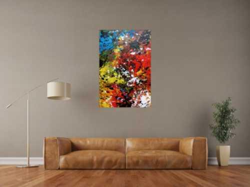 Abstraktes Acrylbild sehr modern und bunt viele Farben Action Painting Flecken