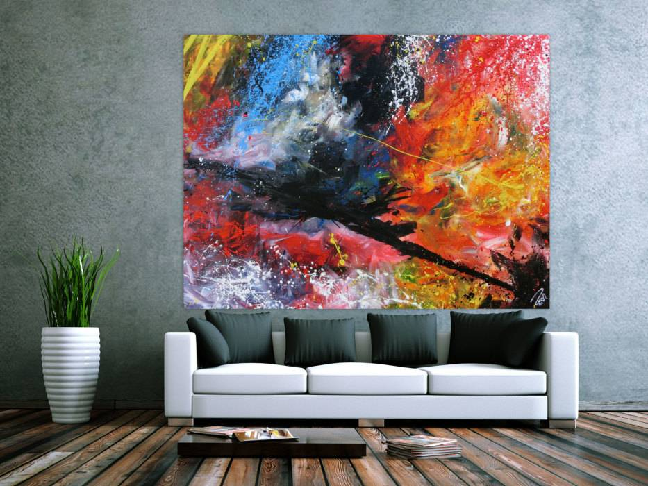 abstrakts acrylbild sehr gro modern und bunt in mischtechnik handgemalt auf leinwand in. Black Bedroom Furniture Sets. Home Design Ideas