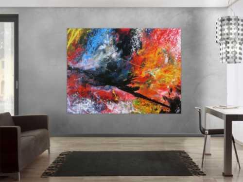 Abstrakts Acrylbild sehr groß modern und bunt in Mischtechnik