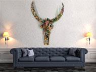 Abstrakt bemalter Büffelschädel XXL Skulptur sehr groß modern bunte Farben neon