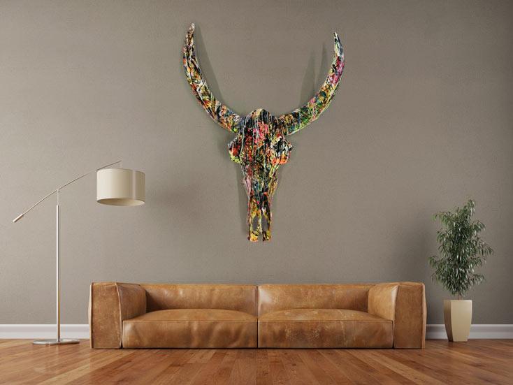 #962 Abstrakt bemalter Büffelschädel XXL Skulptur sehr groß modern ... 150x120cm von Alex Zerr