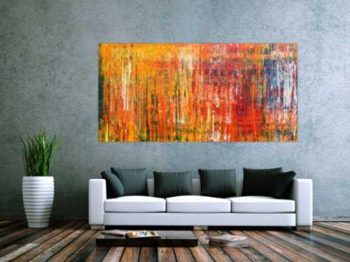 Abstraktes Acrylbild in Spachteltechnik modernes Motiv in Gelb orange rot und bunt