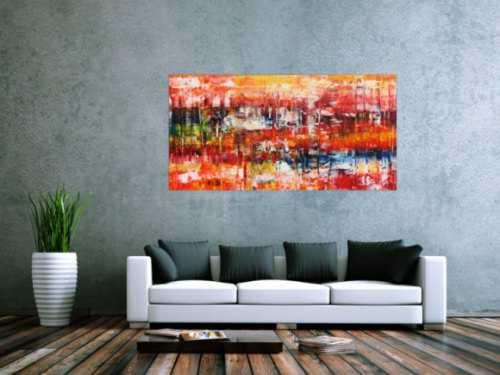 Modernes abstraktes Acrylgemlde in Spachteltechnik sehr bunt mit vielen Farben