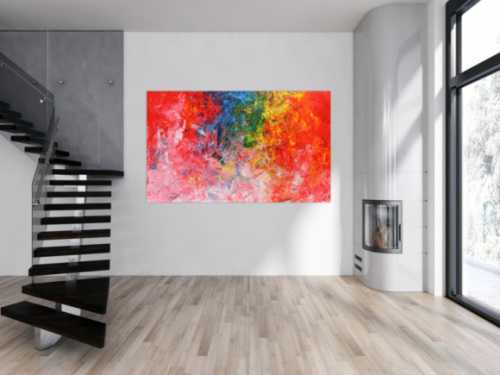 Abstraktes Acrylbild sehr bunt in Spachteltechnik sehr viele helle bunte Farben