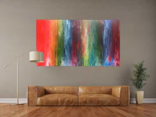 Sehr buntes abstraktes Acrylbild in Fließtechnik sehr modern mit vielen Farben