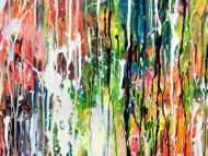 Detailaufnahme Abstraktes Acrylbild sehr bunt mit Neonfarben in Mischtechnik