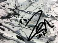 Detailaufnahme Abstraktes Acrylbild in Mischtechtnik Acryl mit Rost sehr modern graue Farben