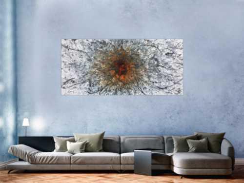 Abstraktes Acrylbild in Mischtechtnik Acryl mit Rost sehr modern graue Farben