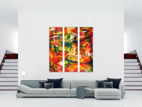 Abstraktes Acrylbild modern und stilvoll XXL tryptichon