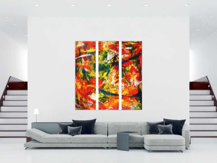 abstraktes acrylbild modern und stilvoll xxl tryptichon. Black Bedroom Furniture Sets. Home Design Ideas