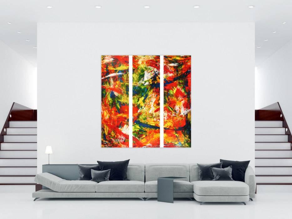 abstraktes acrylbild modern und stilvoll xxl tryptichon handgemalt auf leinwand in 200x180cm von. Black Bedroom Furniture Sets. Home Design Ideas