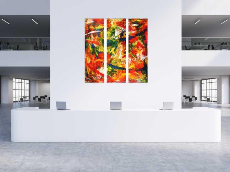 #97 Abstraktes Acrylbild modern und stilvoll XXL tryptichon 200x180cm von Alex Zerr