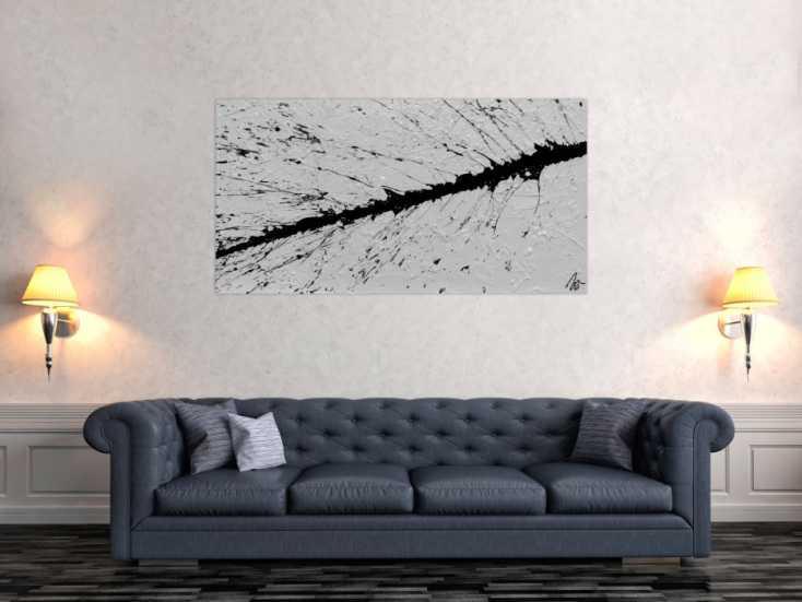 #970 Abstraktes Bild minimalischtisch aus Acryl schwarz weiß warzer ... 70x140cm von Alex Zerr
