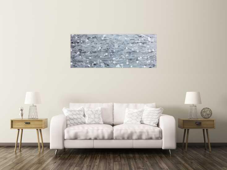 #972 Abstraktes Acrylbild in silber mit Spachteltechnik 60x150cm von Alex Zerr