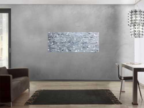 Abstraktes Acrylbild in silber mit Spachteltechnik