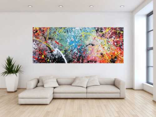 Abstraktes Bild Action Painting mit Acrylfarben sehr bunt