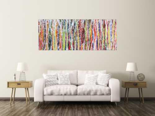 Abstraktes Acrylbild viele bunte Streifen sehr moder Action Painting