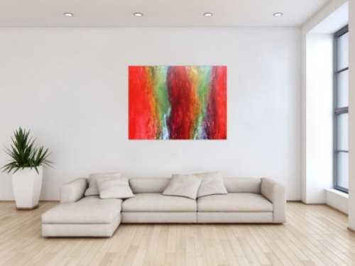 Abstraktes Acrylbild in Fließtechnik Fluidpainting sehr bunt
