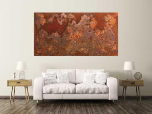 Abstraktes Bild aus echtem Rost in XXXL sehr groß und modern braune Farben