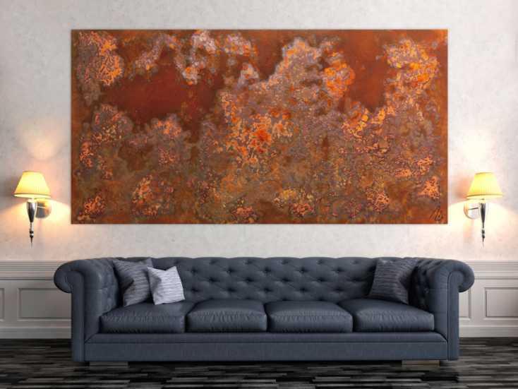 #976 Abstraktes Bild aus echtem Rost in XXXL sehr groß und modern braune ... 110x220cm von Alex Zerr