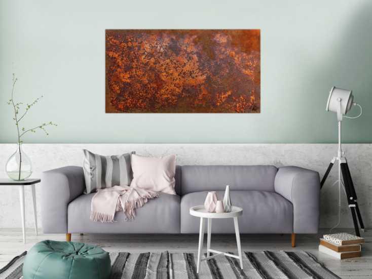 #977 Rostbild abstrakt aus echtem Rost modernes Gemälde in Rostfarben 70x130cm von Alex Zerr