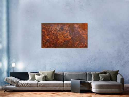 Rostbild abstrakt aus echtem Rost modernes Gemälde in Rostfarben