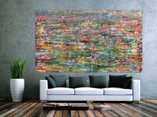 Abstraktes Acrylbild sehr bunt in Spachteltechnik sehr groß und modern