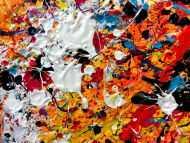 Detailaufnahme Sehr buntes abstraktes Acrylbild Actionpainting mit Neonfarben