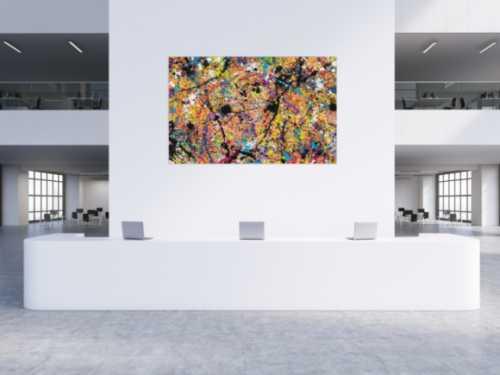 Sehr buntes abstraktes Acrylbild Actionpainting mit Neonfarben