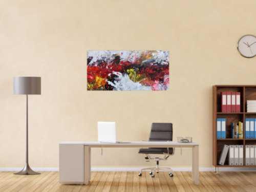 Abstraktes Acrylbild Actionpainting sehr modern in rot schwarz weiß gelb