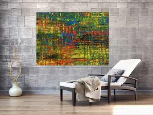 Abstraktes Acrylbild in Spachteltechnik sehr modern und bunt