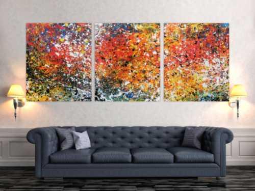 Abstraktes Acrylbild Triptychon sehr bunt und modern Actionpainting