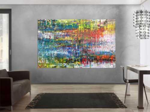 Abstraktes Acrylbild sehr bunt in Spachteltechnik modern