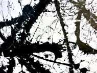 Detailaufnahme Abstraktes Acrylgemälde quadratisch schwarz weiß minimalistisch Actionpainting