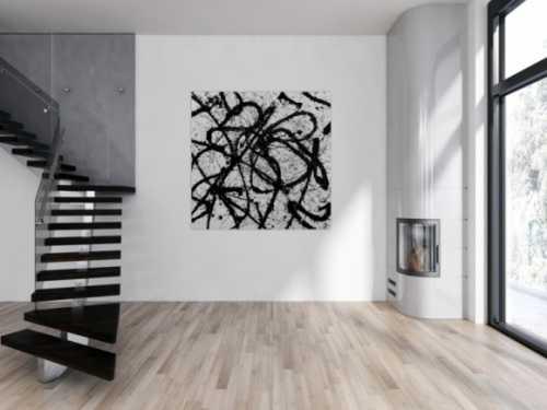 Abstraktes Acrylgemälde quadratisch schwarz weiß minimalistisch Actionpainting
