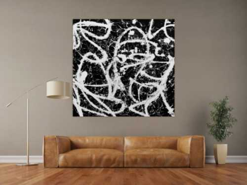 Abstraktes Acrylbild quadratisch in schwarz weiß minimalistisch Actionpainting