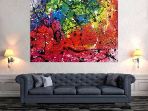 Sehr buntes abstrktes Acrylbild mit vielen Farben Actionpainting modern