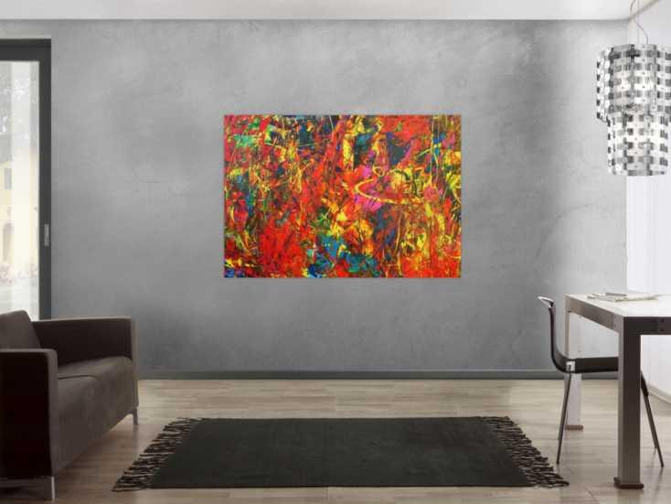 #987 Buntes Acrylbild Spachteltechnik sehr modern und farbenfroh in ornge ... 100x150cm von Alex Zerr
