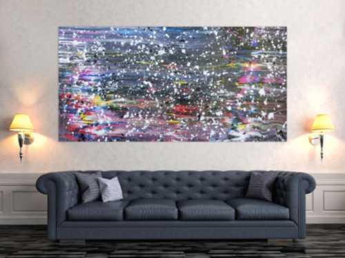 Buntes abstraktes Acrylbild in Spachteltechnik und weißen Flecken sehr modern