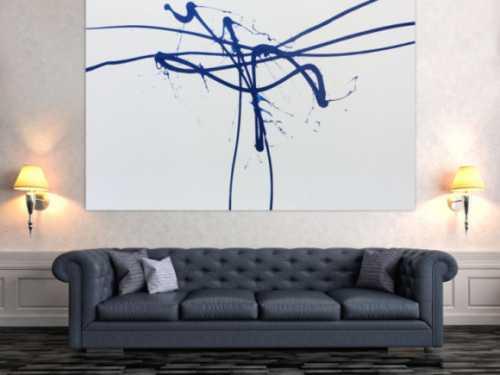 Minimalistisches abstraktes Gemälde in weiß und blau sehr modern
