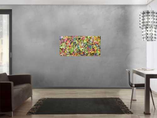 Sehr buntes abstraktes Acrylbild bunte flecken in Neonfarben sehr ausgefallen