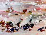 Detailaufnahme Abstraktes Acrylbild in hellen Pastellfarben und Spackteltechnik