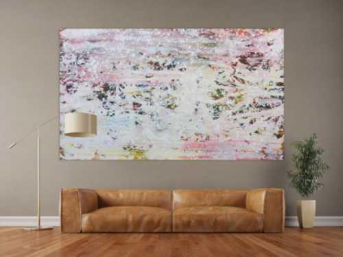 Abstraktes Acrylbild in hellen Pastellfarben und Spackteltechnik