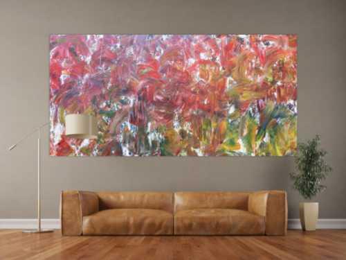 Sehr buntes abstraktes Acrylbild viele bunte Farben sehr modern