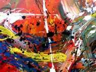 Detailaufnahme Abstraktes Acrylbild sehr bunt Actionpainting modern und viele bunte Farben